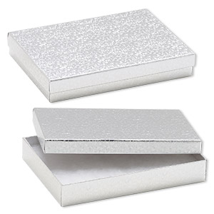 box, paper, cotton-filled, silver, 7-1/8 x 5-1/8 x 1-1/8 inch rectangle. sold per pkg of 100.