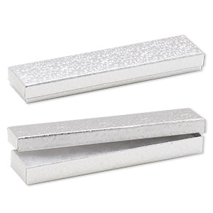 box, paper, cotton-filled, silver, 8-1/8 x 1-7/8 x 7/8 inch rectangle. sold per pkg of 10.