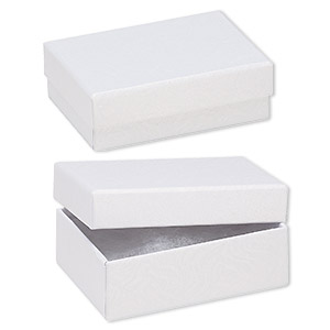 box, paper, cotton-filled, white, 3-1/4 x 2-1/4 x 1-inch textured rectangle. sold per pkg of 10.