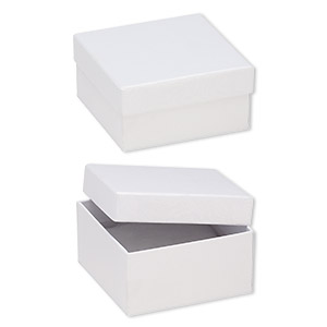 box, paper, cotton-filled, white, 3-3/4 x 3-3/4 x 2-inch textured square. sold per pkg of 100.