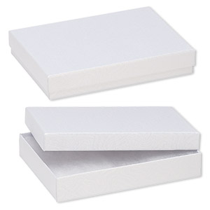 box, paper, cotton-filled, white, 5-1/4 x 3-3/4 x 1-inch rectangle. sold per pkg of 10.