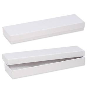 box, paper, cotton-filled, white, 8-1/8 x 1-7/8 x 7/8 inch textured rectangle. sold per pkg of 100.