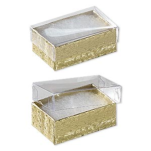 box, plastic and paper, cotton-filled, gold and clear, 2-5/8 x 1-1/2 x 1 inches. sold per pkg of 10.