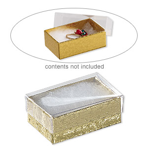 box, plastic and paper, cotton-filled, gold and clear, 2-5/8 x 1-1/2 x 1-inch rectangle. sold per pkg of 100.