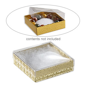 box, plastic and paper, cotton-filled, gold and clear, 3-1/2 x 3-1/2 x 1-inch square. sold per pkg of 100.