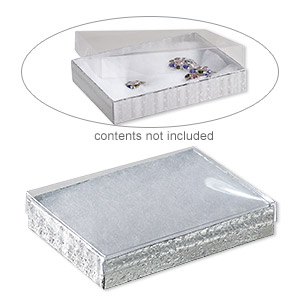 box, plastic and paper, cotton-filled, silver and clear, 5-3/8 x 3-7/8 x 1-inch rectangle. sold per pkg of 100.