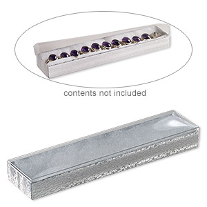 box, plastic and paper, cotton-filled, silver and clear, 8-1/8 x 1-7/8 x 7/8 inch rectangle. sold per pkg of 100.