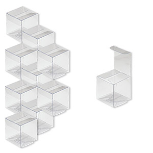 box, plastic, clear, 2 x 2 x 2-inch square with peel-off protective film. sold per pkg of 10.
