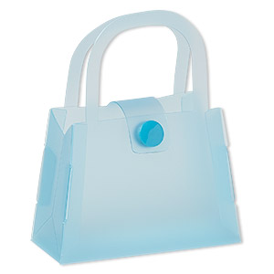 box, plastic, light blue, 3-1/2 x 1-1/2 x 2-1/2 inch assembled purse with snap closure. sold per pkg of 12.