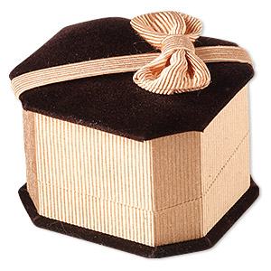 box, ring / earstud, velveteen and satin, brown / gold / black, 2- 5/8 x 2-1/4 x 1-3/4 inches with ribbed ribbon. sold individually.