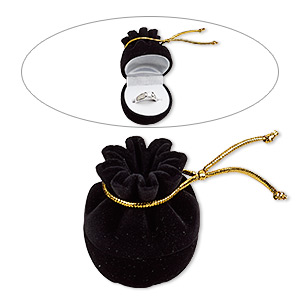 box, ring, velveteen / plastic / rayon, black / white / gold, 2-1/4 x 1-7/8 x 1-7/8 inch hinged pouch. sold individually.