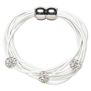 bracelet, 10-strand, leather (dyed) / glass rhinestone / silver-plated pewter (zinc-based alloy), white and clear, 10mm round, 6 inches with magnetic clasp. sold individually.