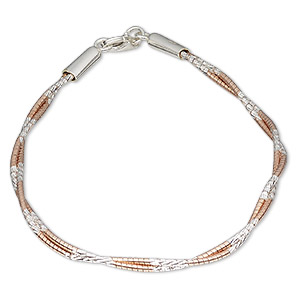 bracelet, 2-strand, sterling silver and rose gold-plated sterling silver, 1.2mm diamond-cut twisted snake, 7-1/2 inches with lobster claw clasp. sold individually.