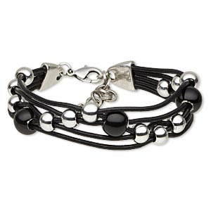 bracelet, 5-strand, leather (dyed) / glass / silver-plated steel / pewter (zinc-based alloy), black, 17mm wide, 7-1/2 inches with 1-1/2 inch extender chain and lobster claw clasp. sold individually.