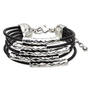 bracelet, 5-strand, leather (dyed) and antiqued silver-finished pewter (zinc-based alloy), black, 15mm wide with 54x29mm hammered tube, 7-1/2 inches with lobster claw clasp and 3-inch extender chain. sold individually.