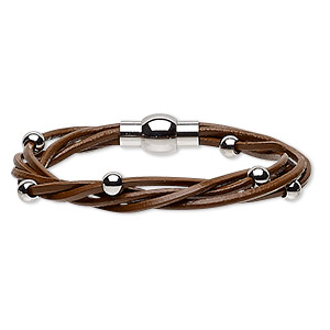 bracelet, 5-strand, leather (dyed) and stainless steel, brown, 8mm wide twisted with 5mm round, 6-1/2 inches with magnetic clasp. sold individually.