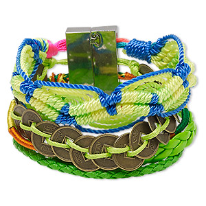 bracelet, 5-strand, nylon / polyurethane / silver-plated / antique brass-finished pewter (zinc-based alloy), neon green and multicolored, 37mm wide, 6-1/2 inches with magnetic locking clasp. sold individually.