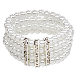 bracelet, 5-strand stretch, acrylic / glass rhinestone / silver-plated pewter (zinc-based alloy), white and clear, 44mm wide with 6mm round, 6 inches. sold individually.