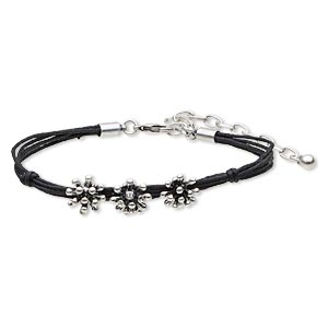 bracelet, 5-strand, swarovski crystals / waxed cotton cord / antique silver-finished steel / brass / pewter (zinc-based alloy), black, 4mm wide with 12mm fancy flower, 7-1/2 inches with 3-inch extender chain and lobster claw clasp.