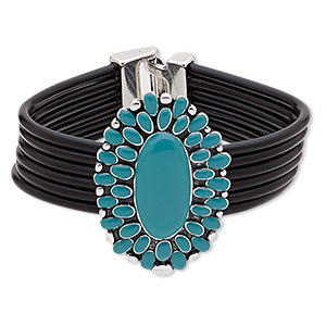 bracelet, 6-strand, leather (dyed) / enamel / antique silver-plated pewter (zinc-based alloy), turquoise blue, 47x33mm oval, 7-1/2 inches with buckle-style closure. sold individually.