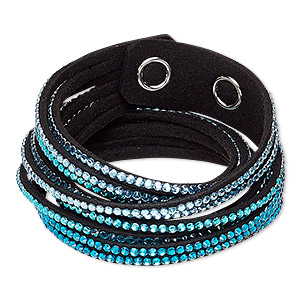 bracelet, 6-strand wrap, acrylic rhinestone / faux suede / imitation rhodium-plated brass, black / clear / multi-blue, 19mm wide, adjustable at 6-1/2 and 7 inches with snap closure. sold individually.