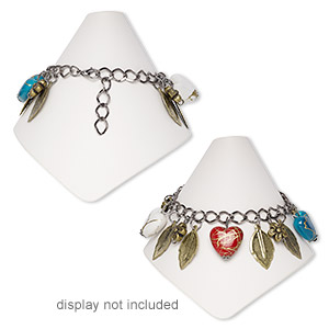 bracelet, acrylic / brass / gunmetal- / antique brass-plated steel, multicolored,  10mm flower / 17mm puffed heart / 20x13mm leaves, 5-1/2 inches with 2-1/2 inch extender chain and lobster claw clasp. sold individually.