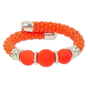 bracelet, acrylic / silver-coated plastic / silver-finished steel / painted steel memory wire, neon orange, 16mm wide, adjustable from 6-1/2 to 7-1/2. sold individually.