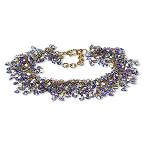 bracelet, acrylic sequin with gold-finished brass and steel, purple ab, 20mm wide with 4mm round, 7 inches with 1-1/2 inch extender chain and lobster claw clasp. sold individually.