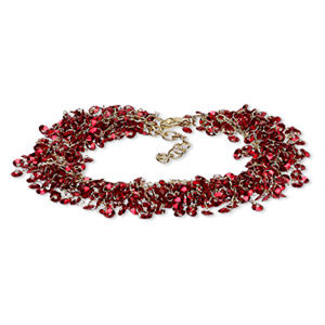 bracelet, acrylic sequin with gold-finished brass and steel, red, 20mm wide with 4mm round, 7 inches with 1-1/2 inch extender chain and lobster claw clasp. sold individually.