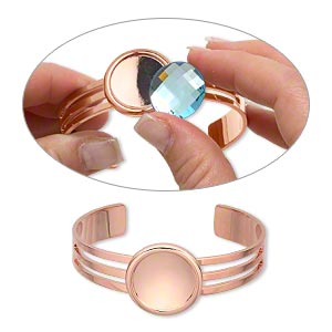 bracelet, almost instant jewelry, cuff, copper-plated brass and pewter (zinc-based alloy), 64x25mm with 20mm round setting, adjustable. sold individually.