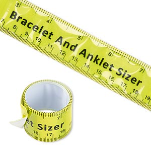 bracelet and anklet sizer, slap-on, steel and plastic, yellow / black / white, 11x1 inch, measures up to 10 inches (250mm). sold individually.