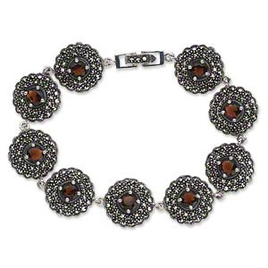 bracelet, antiqued sterling silver and marcasite with garnet glass (natural / imitation), 15mm round domed flower with faceted center stone, 7-1/2 inches with fold-over clasp. sold individually.