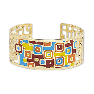 bracelet, avant-garde jewelry collection™, cuff, enamel and gold-plated brass, multicolored, 30mm wide with cutout and geometric design, adjustable from 7-1/2 to 8 inches. sold individually.