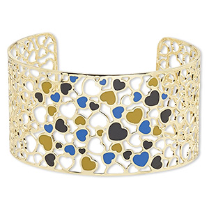 bracelet, avant-garde jewelry collection™, cuff, enamel and gold-plated brass, multicolored, 38mm wide with cutout and heart design, adjustable from 7-1/2 to 8 inches. sold individually.