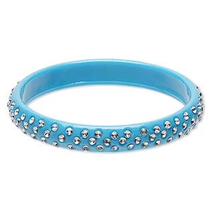bracelet, bangle, acrylic, clear and opaque turquoise blue, 11mm wide, 8 inches. sold individually.
