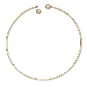 bracelet, bangle, antique gold-plated brass, 1.5mm wide round with (2) 6mm twist-off bead ends, 9 inches. sold per pkg of 10.