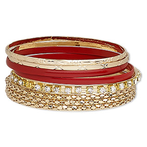 bracelet, bangle, enamel / glass rhinestone / gold-finished steel, red and clear, 3-10mm wide, 8 inches. sold per 6-piece set.