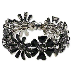bracelet, bangle, enamel / glass rhinestone / silver-finished steel / pewter (tin-based alloy), black and clear, 31mm flower, 5-1/2 inches with magnetic clasp. sold individually.