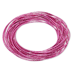 bracelet, bangle, enameled steel, hot pink, (26-30) 1mm wide interlocking textured bands, 8 inches. sold individually.
