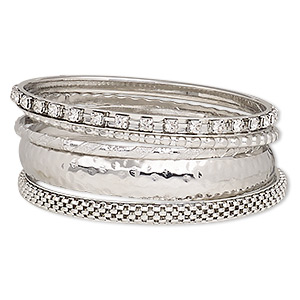 bracelet, bangle, glass rhinestone and imitation rhodium-finished steel, clear, 3-12mm wide, 8 inches. sold per 5-piece set.