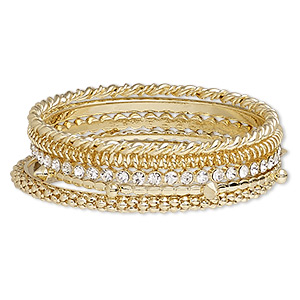 bracelet, bangle, glass rhinestone with gold-finished steel and pewter (zinc-based alloy), clear, 3-5mm wide, 8 inches. sold per 5-piece set.