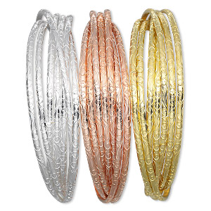 bracelet, bangle, gold-finished / silver- / copper-plated steel, (7) 3mm wide interlocking bands with swirl design, 8 inches. sold per pkg of 3.