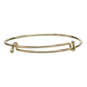 bracelet, bangle, gold-finished steel, 2mm wide with 3mm ball, adjustable from 7-1/2 to 8 inches. sold individually.