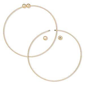 bracelet, bangle, gold-plated brass, 1.5mm wide round with (2) 6mm twist-off bead ends, 9 inches. sold per pkg of 10.