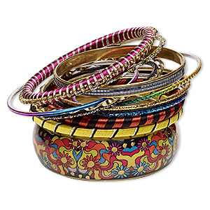 bracelet, bangle, polyester / resin / glass / gold-finished aluminum / brass / steel, assorted colors with glitter, 2.5-24mm wide, 8 inches. sold per 12-piece set.