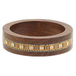 bracelet, bangle, stained wood (dyed), multicolored, 22mm wide with inlaid design, 7-1/2 inches. sold individually.