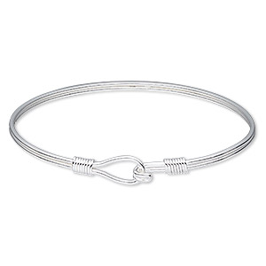 bracelet, bangle, sterling silver, 3mm wide, 7-1/2 inches with hook-and-eye clasp. sold individually.