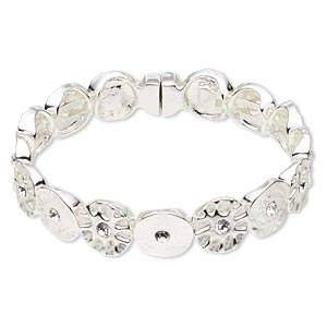 bracelet, bangle, swarovski crystals and silver-plated pewter (zinc-based alloy), crystal clear, 12mm textured round, 6-1/2 inches with magnetic clasp. sold individually.