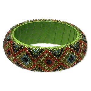 bracelet, bangle, wood / glass / polyester, multicolored, 28mm wide with geometric design, 2-1/2 inch inside diameter. sold individually.