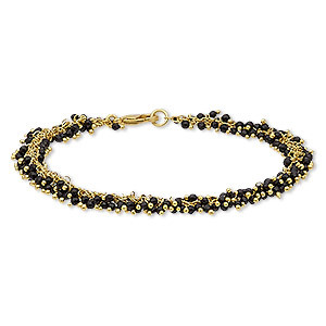 bracelet, black onyx (dyed) and gold-finished brass, 8mm wide with 2mm faceted round, 7-1/2 inches with lobster claw clasp. sold individually.